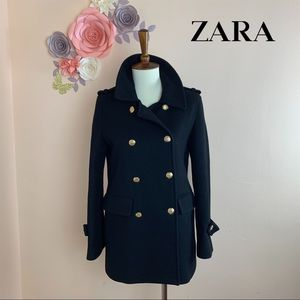 Zara Military Wool Gold Button Peacoat